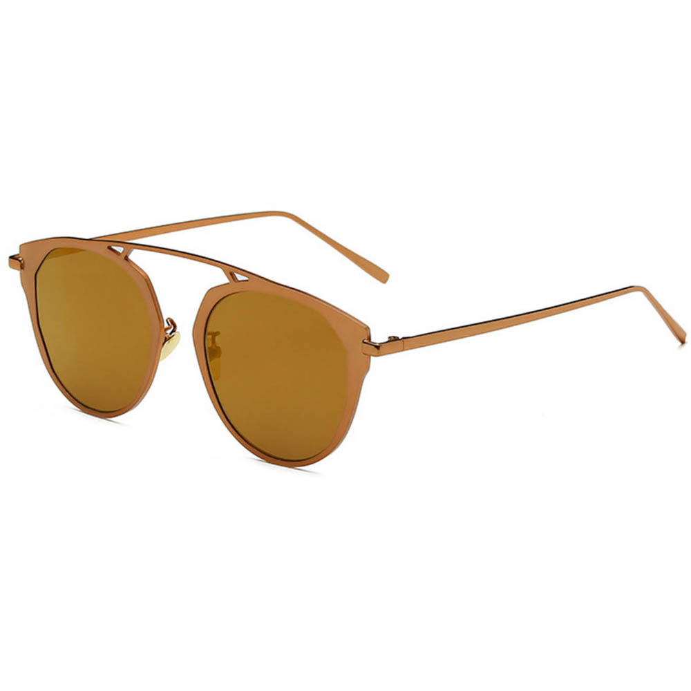 Sunglasses 86046 C3 Women's Metal Round Fashion Gold Frame Brown Mirror Lens
