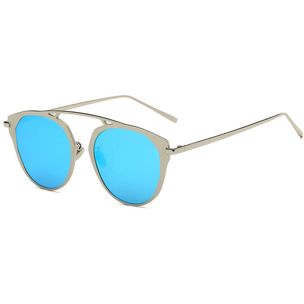Sunglasses 86046 C6 Women's Metal Round Fashion Silver Frame Blue Mirror Lens