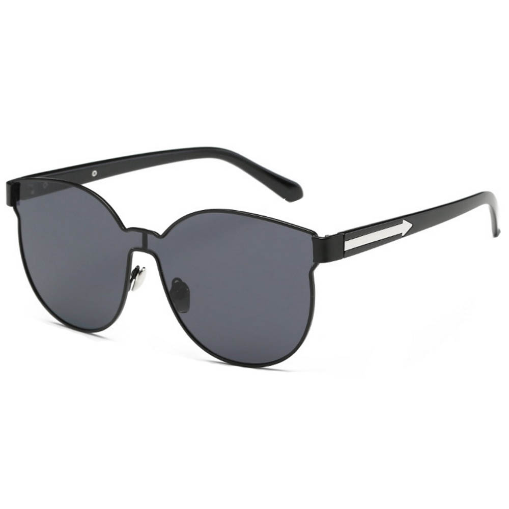 Sunglasses 86036 C1 Women's Metal Fashion Black/Silver Frame Smoke Len