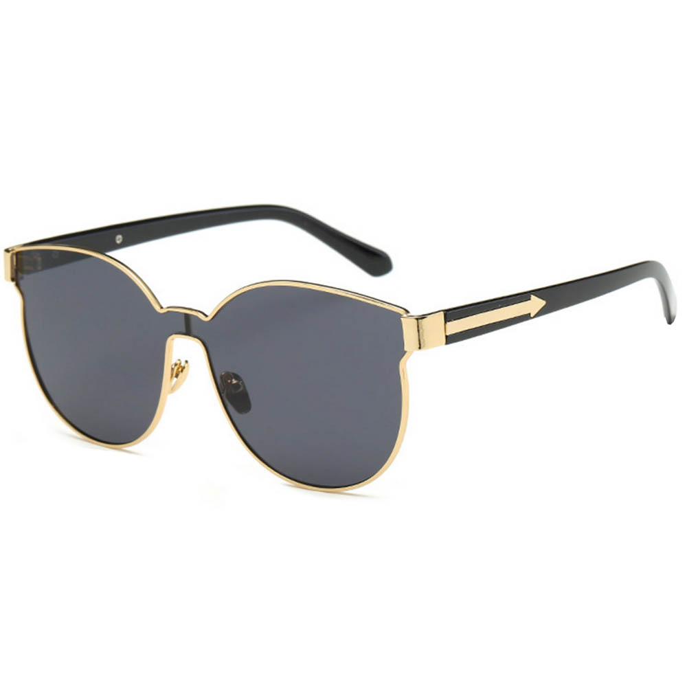 Sunglasses 86036 C5 Women's Metal Fashion Black/Gold Frame Smoke Mirror Lens