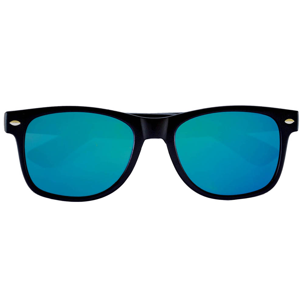 Sunglasses Flat Black Frame Blue-Green Mirror Lens