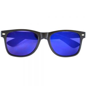 Sunglasses Flat Black Frame Blue Mirror Lens