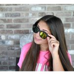Sunglasses Flat Black Frame Yellow-Red Mirror Lens