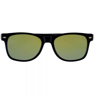 Sunglasses Flat Black Frame Yellow Mirror Lens