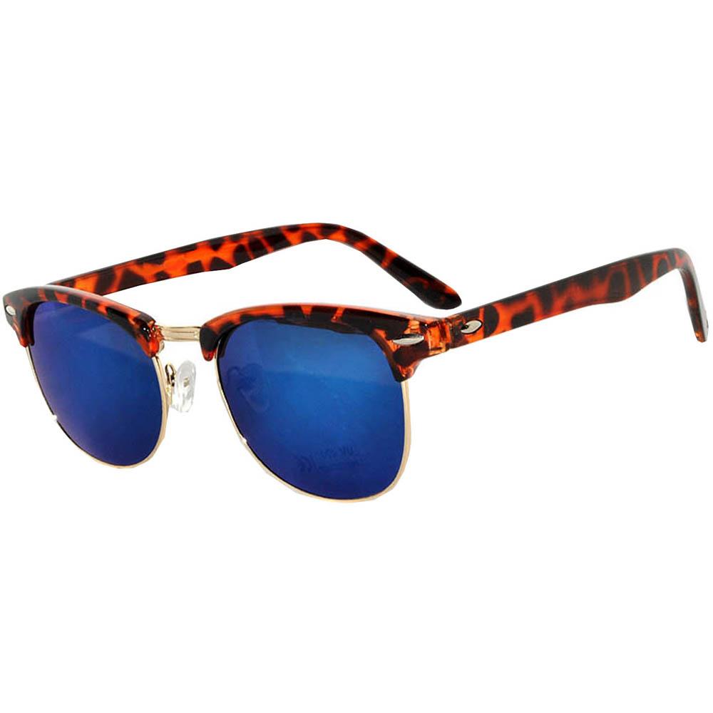Half Frame Sunglasses Leopard Gold Frame Blue Mirror Lens
