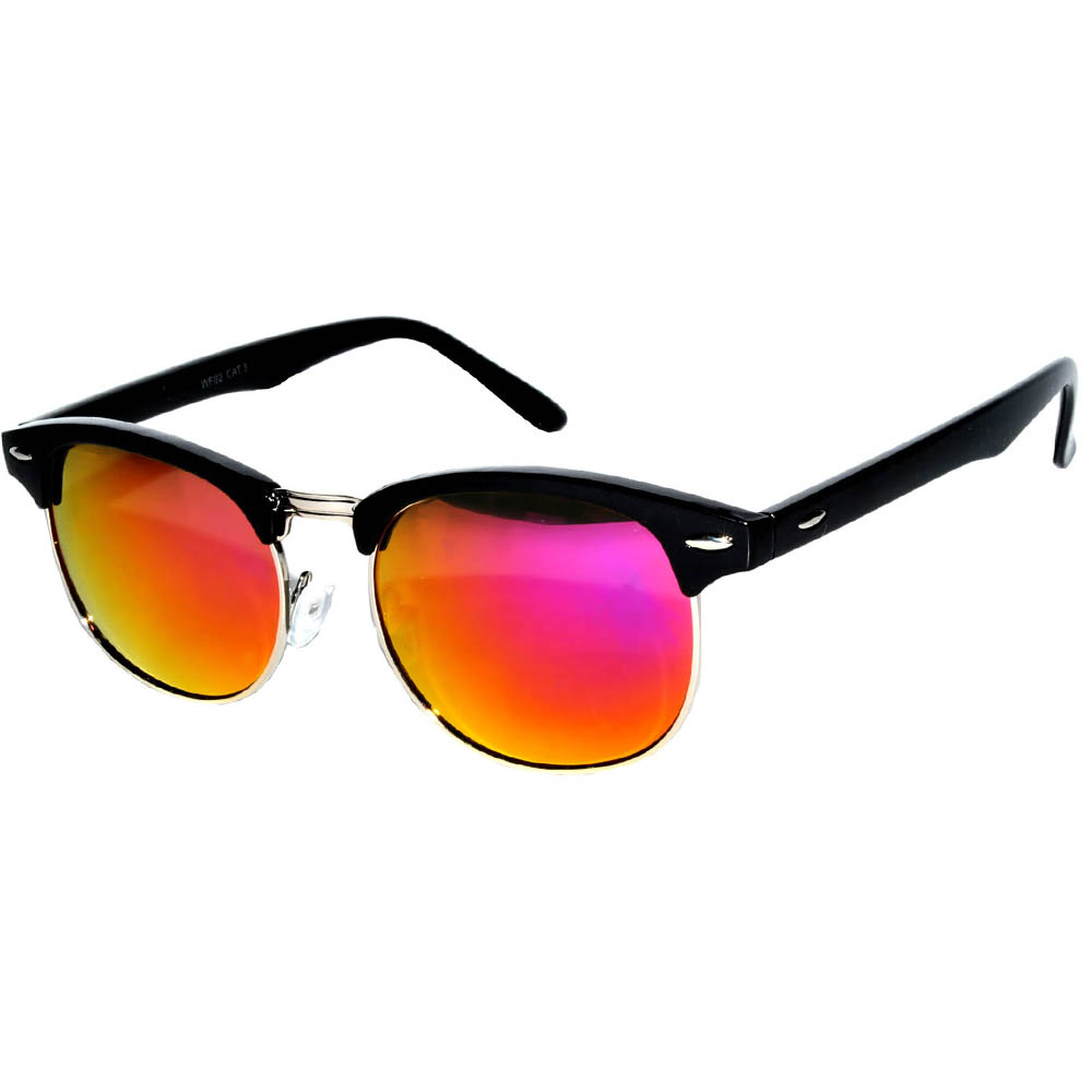 Half Frame Sunglasses Black/Silver Frame Purple Mirror Lens