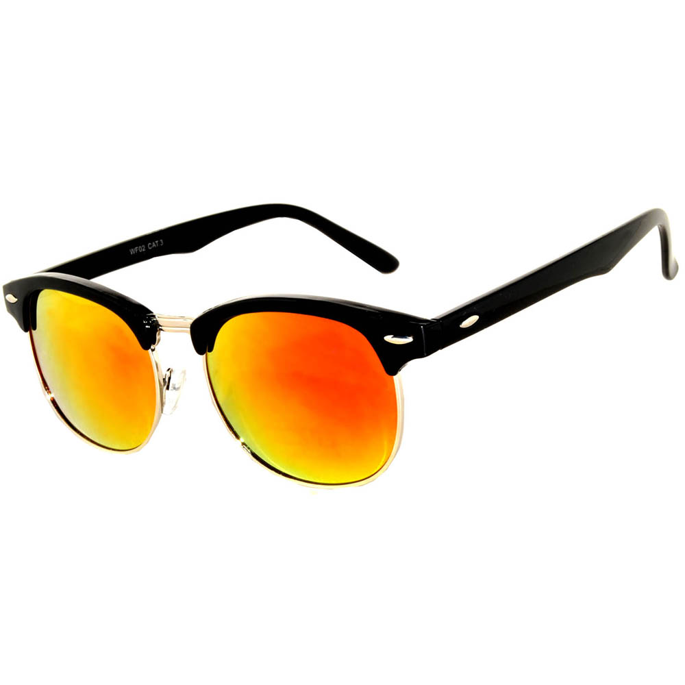 Half Frame Sunglasses Black/Silver Frame Red Mirror Lens