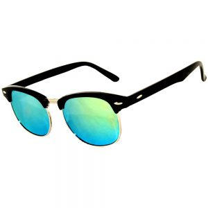 Half Frame Sunglasses Black/Silver Frame Yellow Mirror Lens