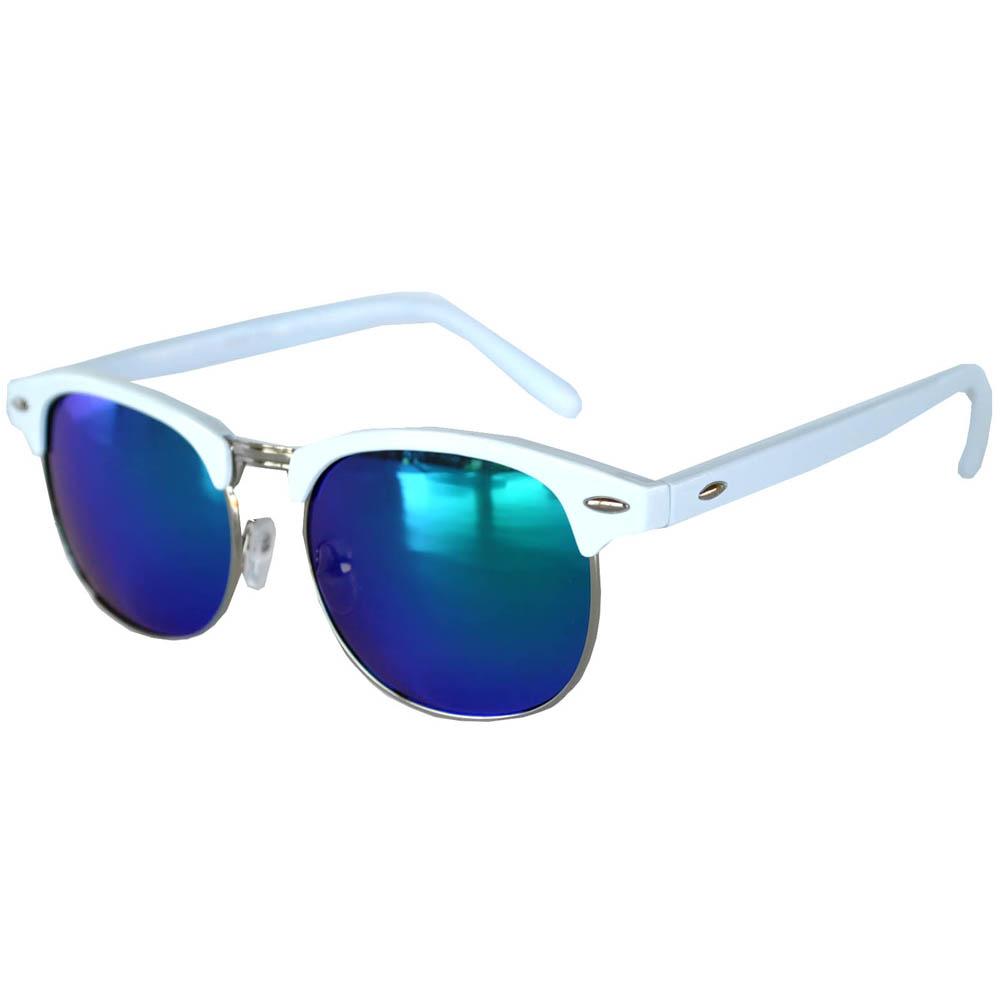 Half Frame Sunglasses Leopard White/Silver Frame Blue-Green Mirror Lens