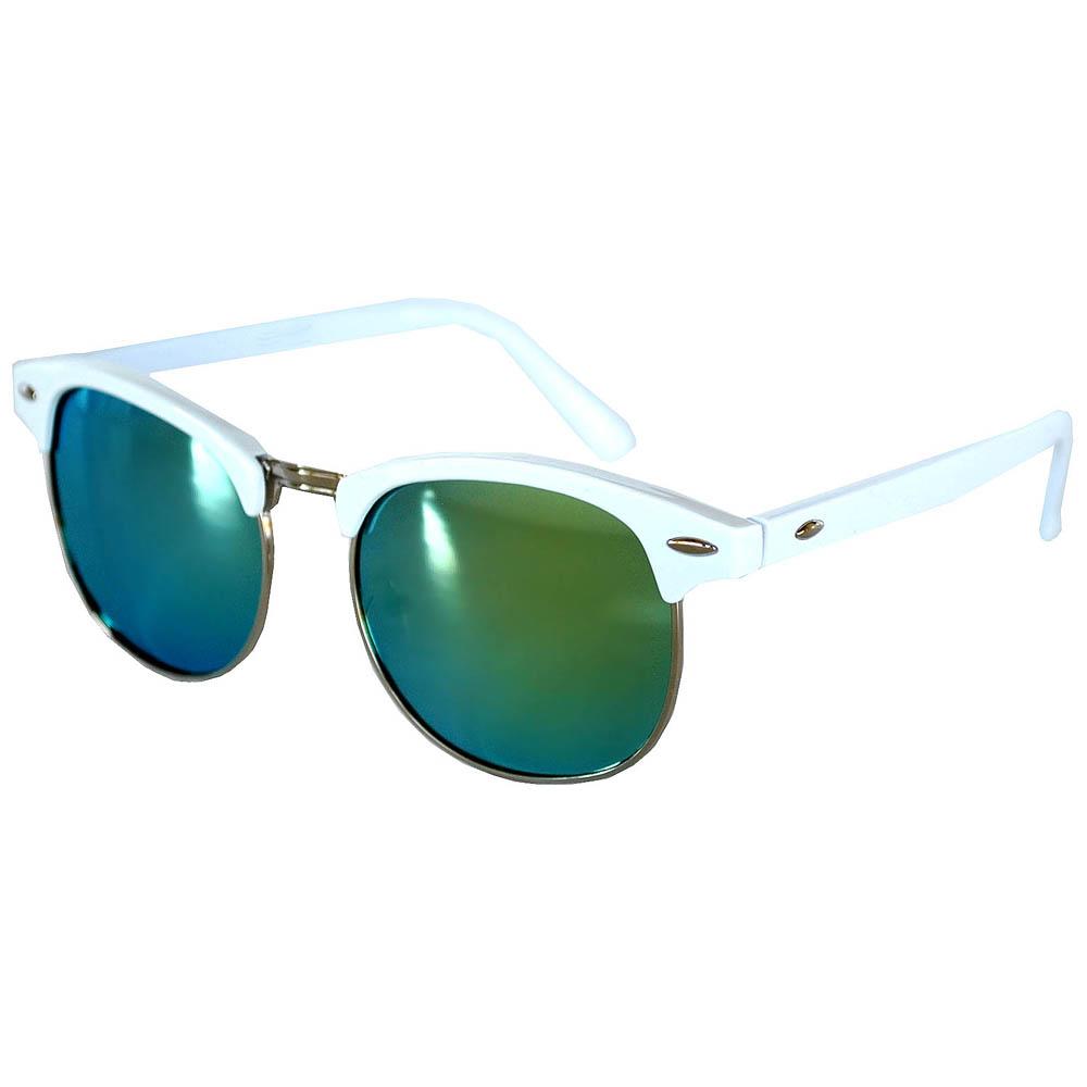 Half Frame Sunglasses Leopard White/Silver Frame Green Mirror Lens