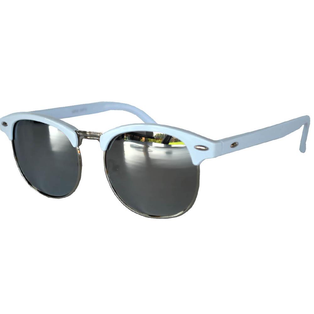 Half Frame Sunglasses Leopard White/Silver Frame Silver Mirror Lens