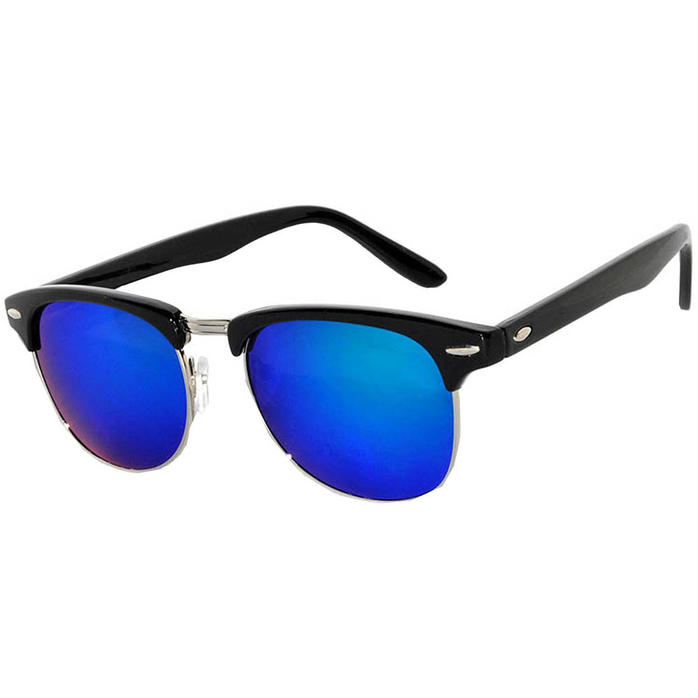 Half Frame Sunglasses Black/Silver Frame Blue-Green Mirror Lens