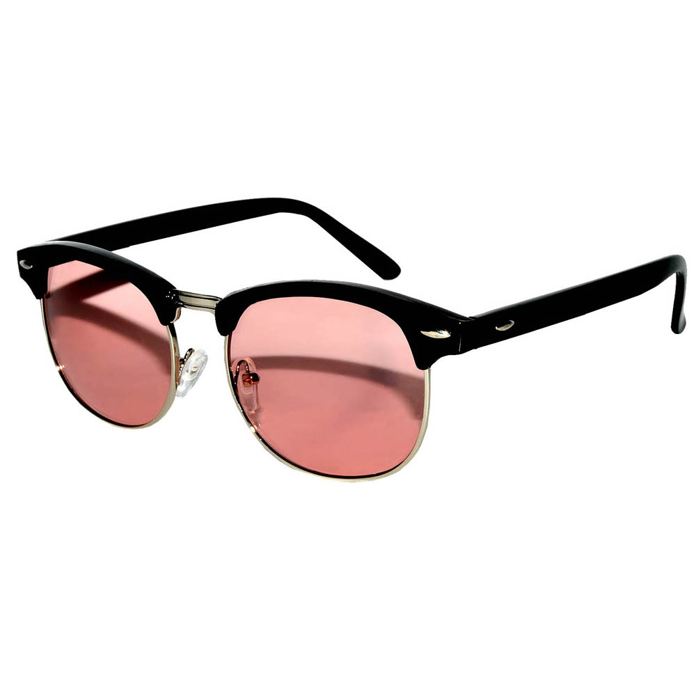 Half Frame Sunglasses Black/Gold Frame Pink Lens