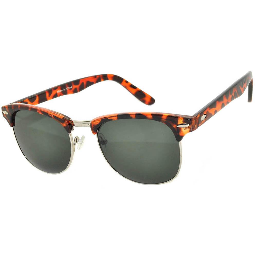 Half Frame Sunglasses Leopard/Silver Frame Green Lens