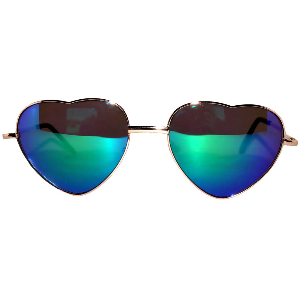 Sunglasses Heart Women's Metal Gold Frame Blue-Green Mirror Lens
