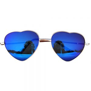Sunglasses Heart Women's Metal Gold Frame Blue Lens