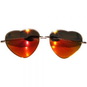 Sunglasses Heart Women's Metal Gold Frame Red Mirror Lens