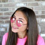 Sunglasses Heart Women's Metal Silver Frame Pink Lens