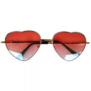 Sunglasses Heart Women's Metal Silver Frame Red Lens