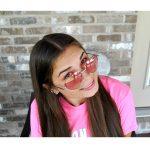Sunglasses Heart Women's Metal Silver Frame Red Lens