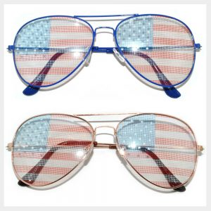 Wholesale Classic Aviator Sunglasses - American Flag Lens