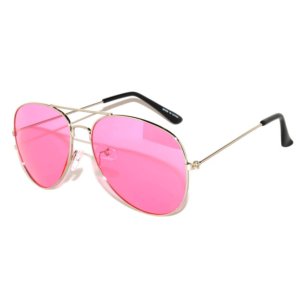 8e2997333b OWL ® Eyewear Aviator Sunglasses Colored Pink Lens Silver Frame One ...
