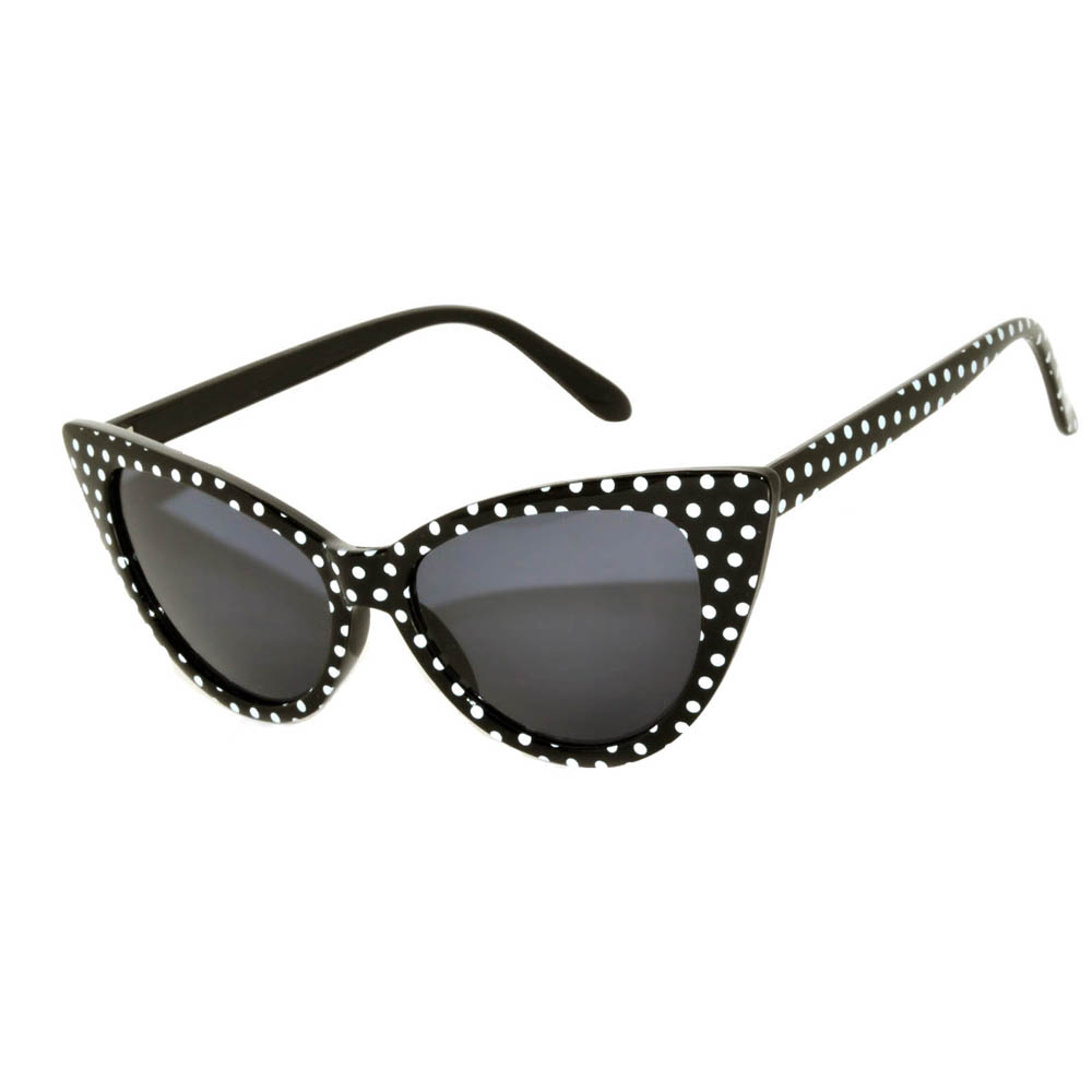 Wholesale Cat Eye Sunglasses Black with Dots Frame Smoke Lens One Dozen