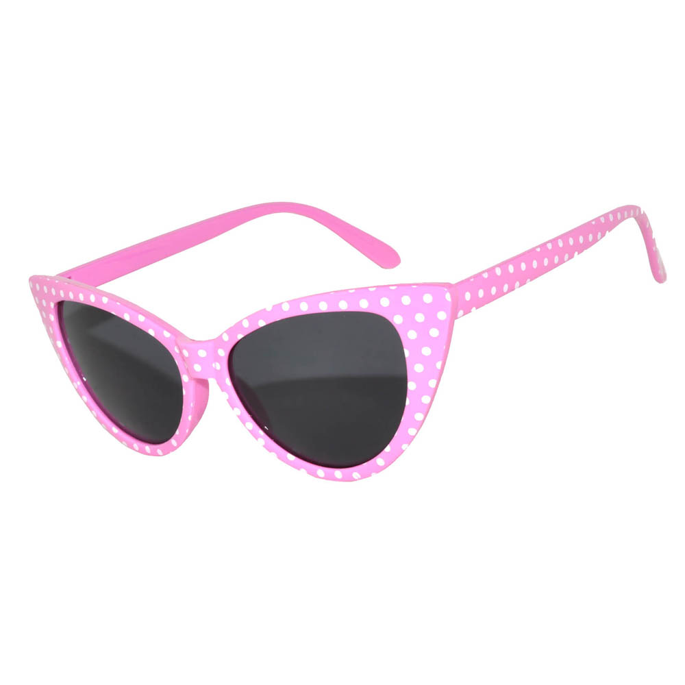 Wholesale Cat Eye Sunglasses Pink-Dot Frame Smoke Lens One Dozen
