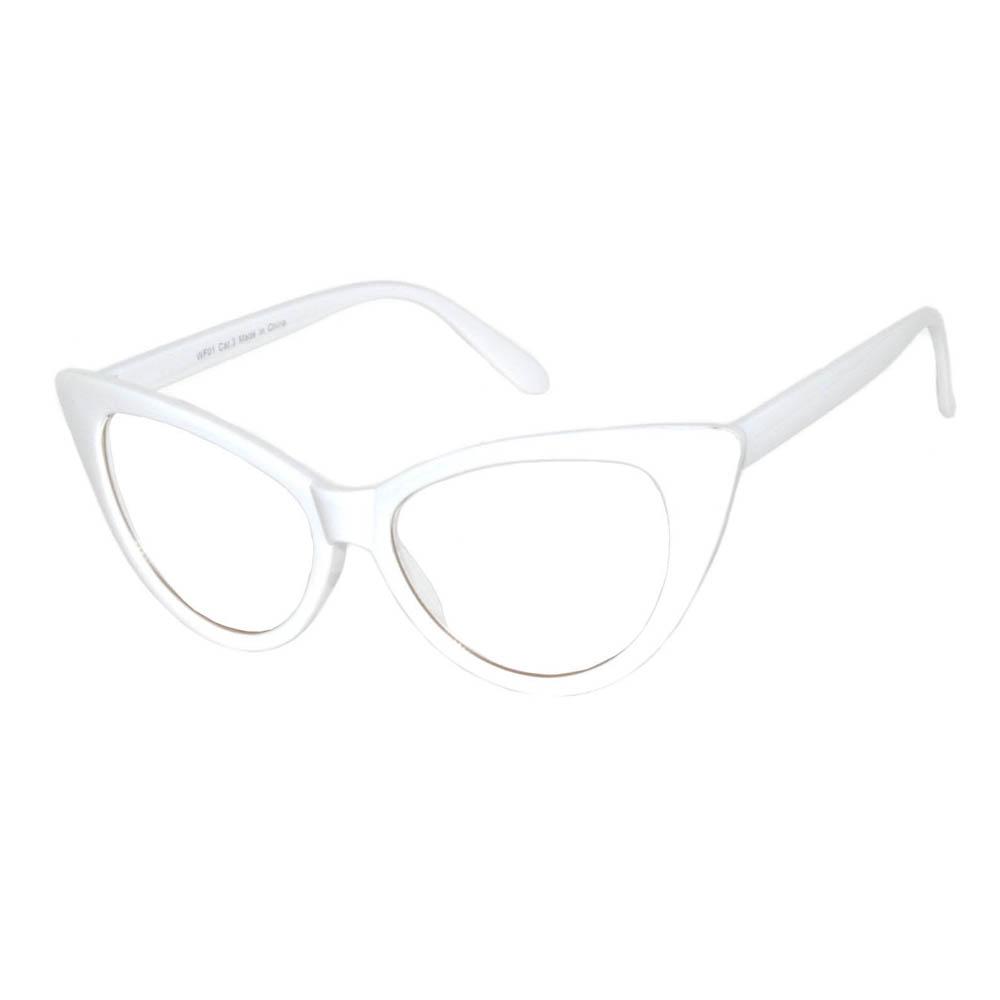 OWL ® Eyewear Wholesale Cat Eye Sunglasses White Frame Clear Lens ...