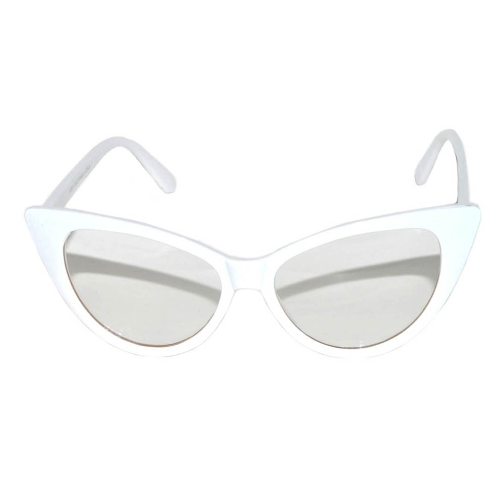 OWL ® Eyewear Wholesale Cat Eye Sunglasses White Frame Clear Lens ...