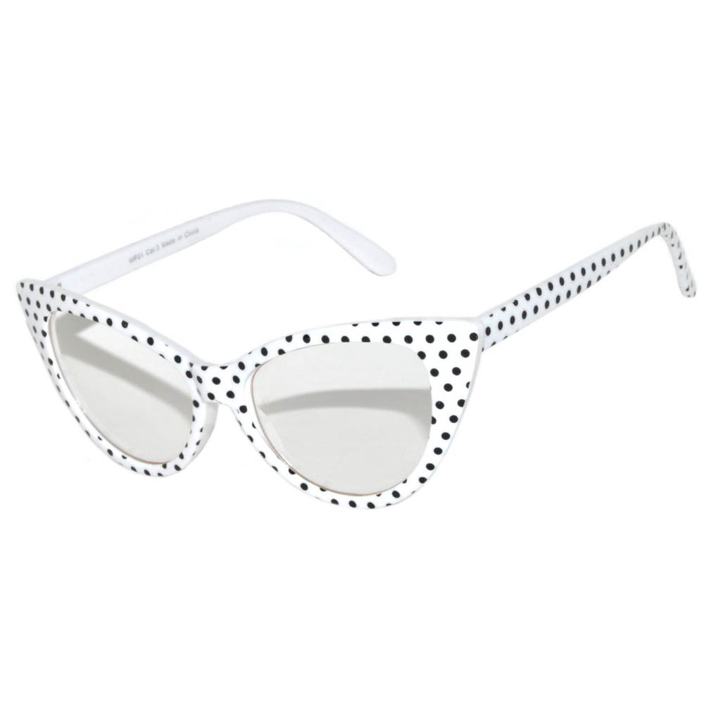 Cat Eye Glasses White Frame Polka Dots Clear Lens