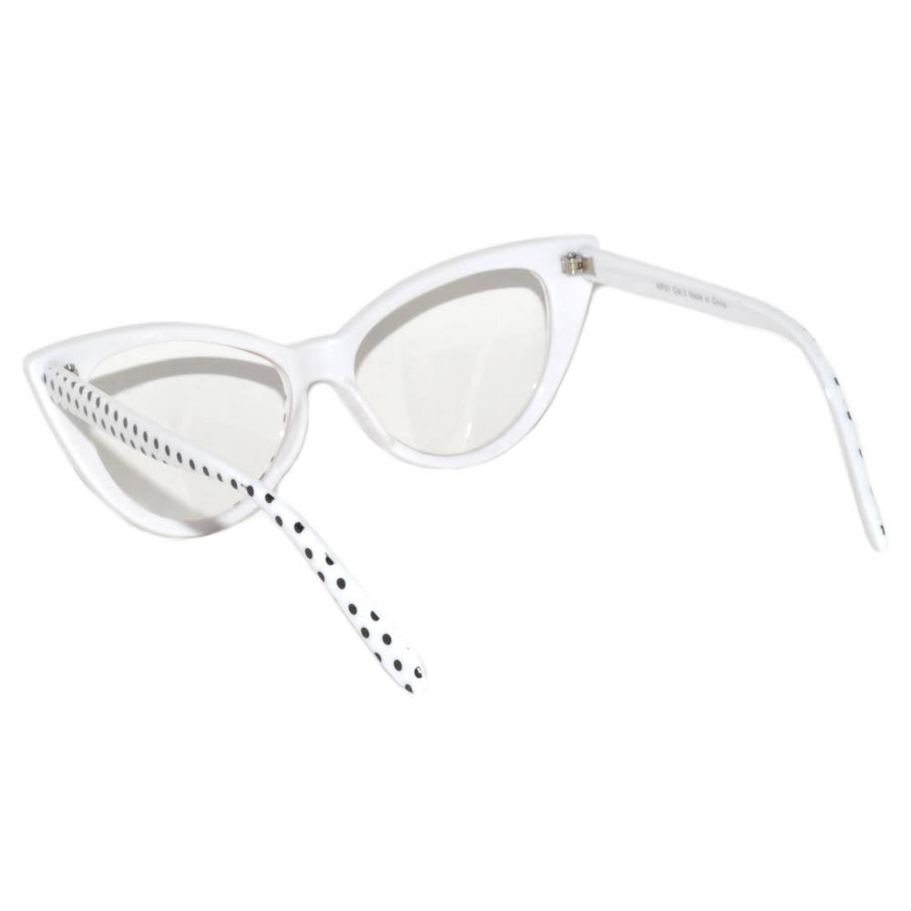 d2b0babb2dc OWL ® Eyewear Cat Eye Sunglasses White Frame Polka Dots Clear Lens ...
