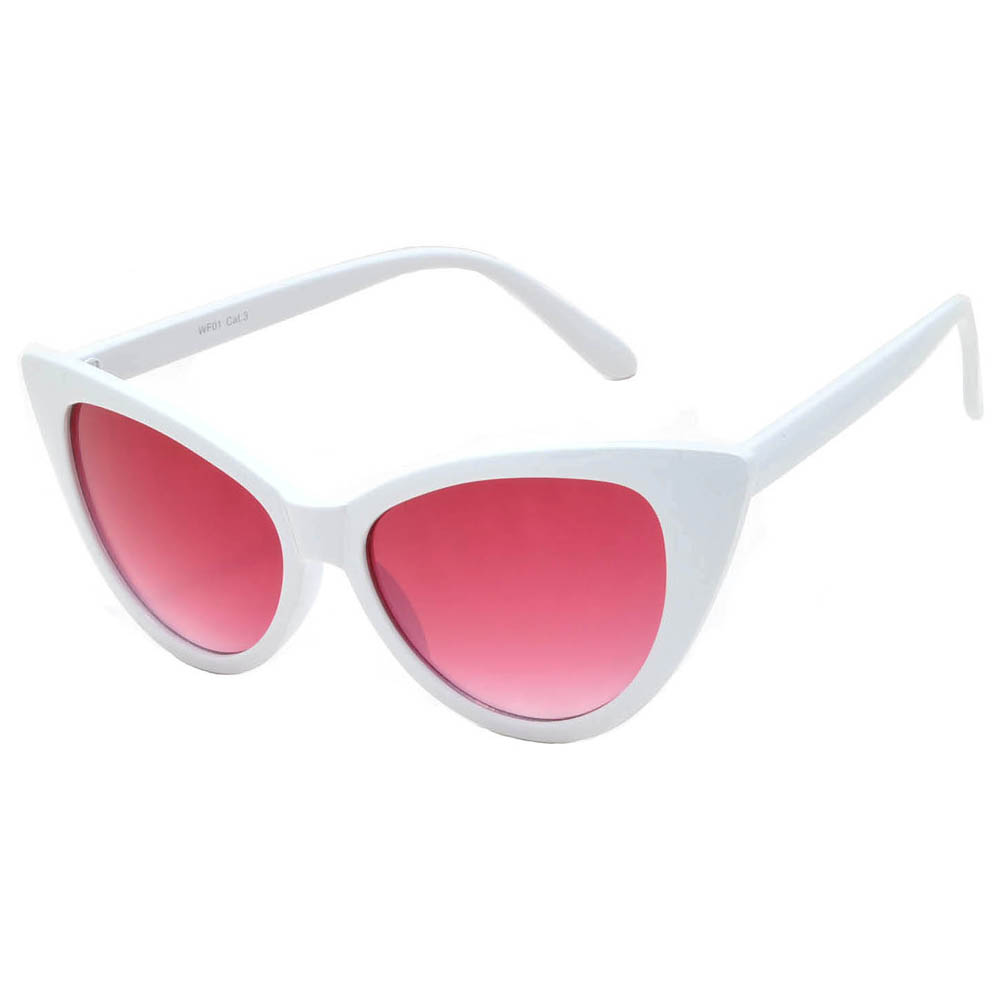 c8338fbce0 OWL ® Eyewear Wholesale Cat Eye Sunglasses White Frame Red-Smoke ...