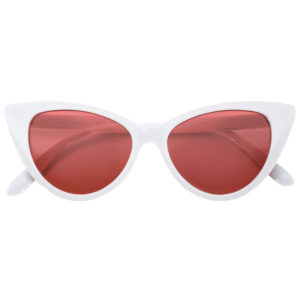 cat eye sunglasses white plastic frame red lens