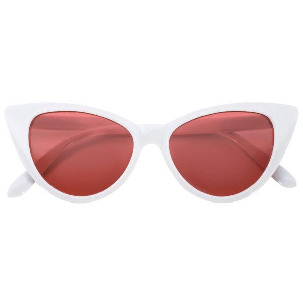 faf46770d3d OWL ® Eyewear Cat Eye Sunglasses White Frame Red-Smoke Lens (One ...