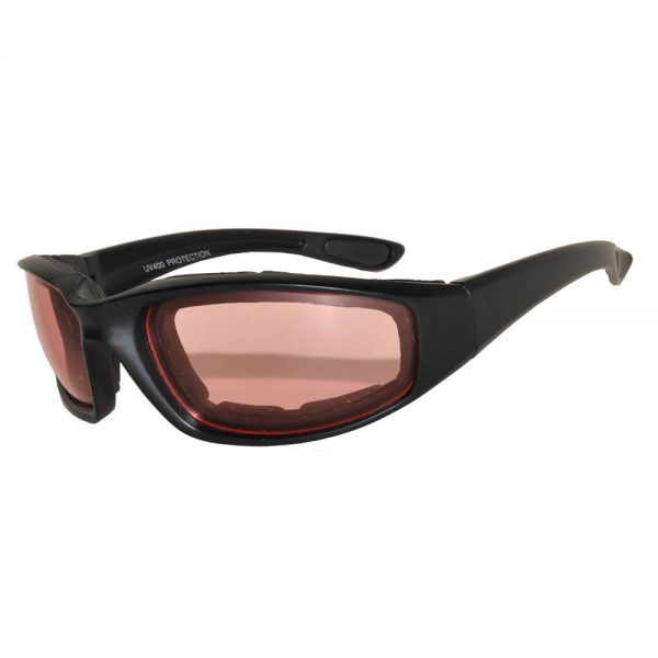 Motorcycle Padded Black Frame Glasses Amber Lens One Dozen