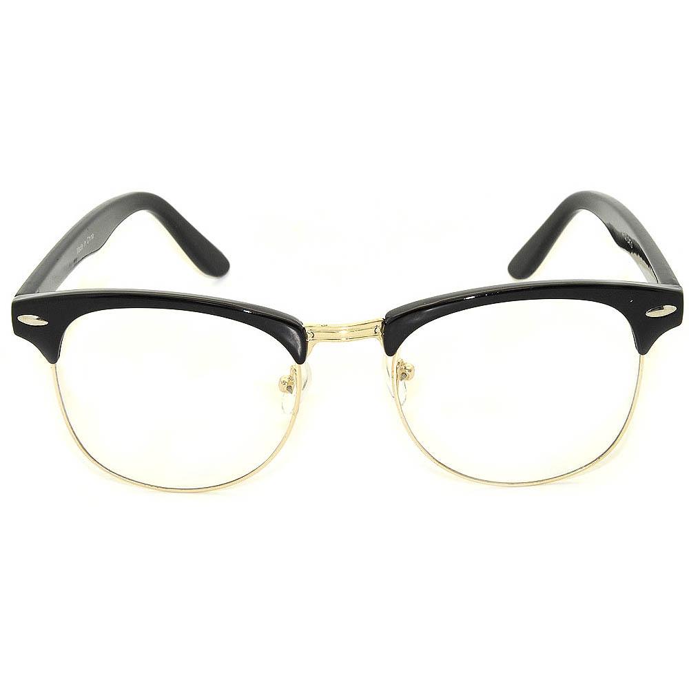 2912a5ee96c31 OWL ® Eyewear Half Frame Sunglasses Black Gold Frame Clear Lens One ...