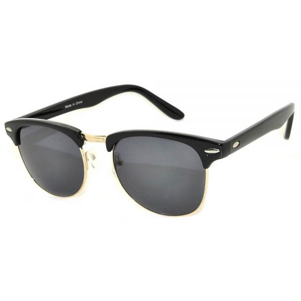 Half Frame Sunglasses Black Gold Frame Smoke Lens One Dozen