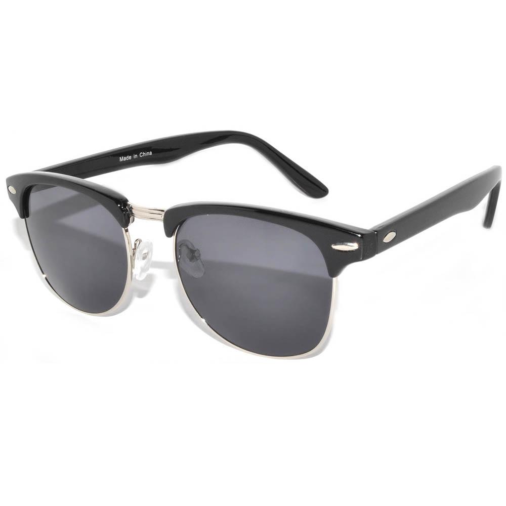 Half Frame Sunglasses Black Silver Frame Smoke Lens One Dozen
