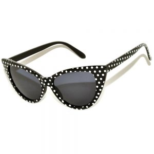 Wholesale Cat Eye Sunglasses Black Frame Polka Dots Smoke Lens One Dozen
