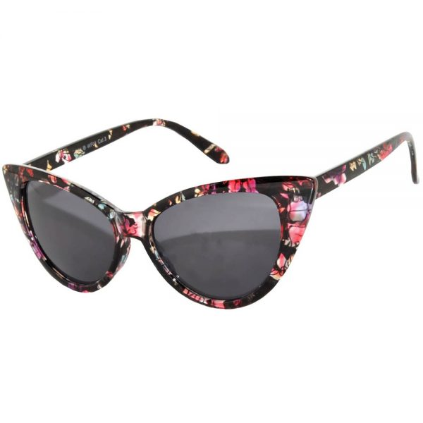 Wholesale Cat Eye Sunglasses Floral Black Frame Smoke Lens