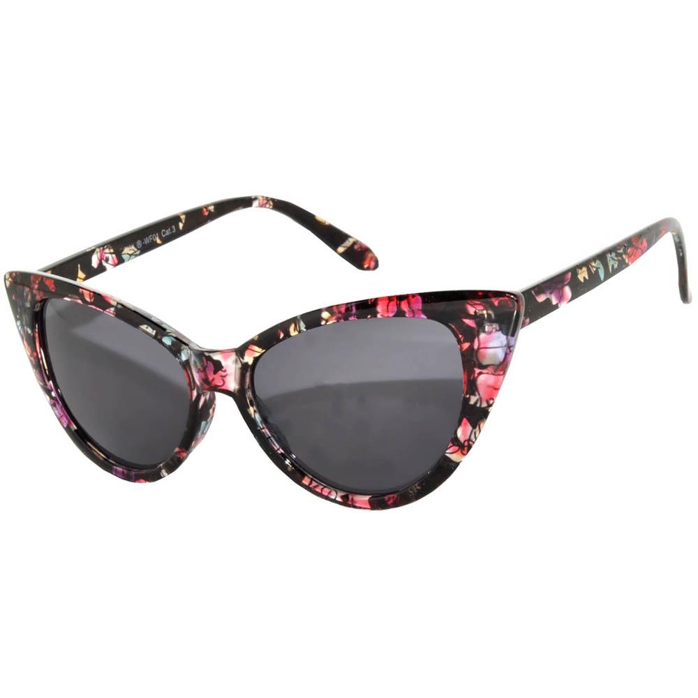 c67928ce2f5 OWL ® Eyewear Cat Eye Sunglasses Floral Colored Frame Smoke Lens One ...