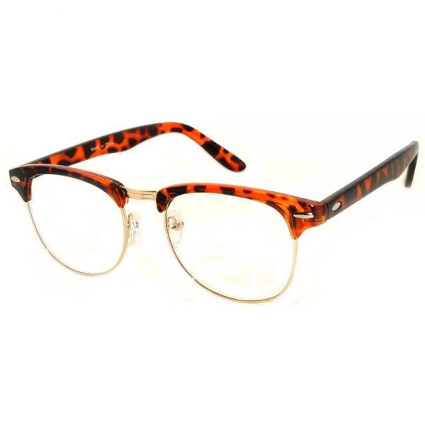 Half Frame Sunglasses Leopard Gold Metal Frame Clear Lens One Dozen