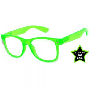 Glow in the Dark Sunglasses Clear Lens Green (12 PCS)