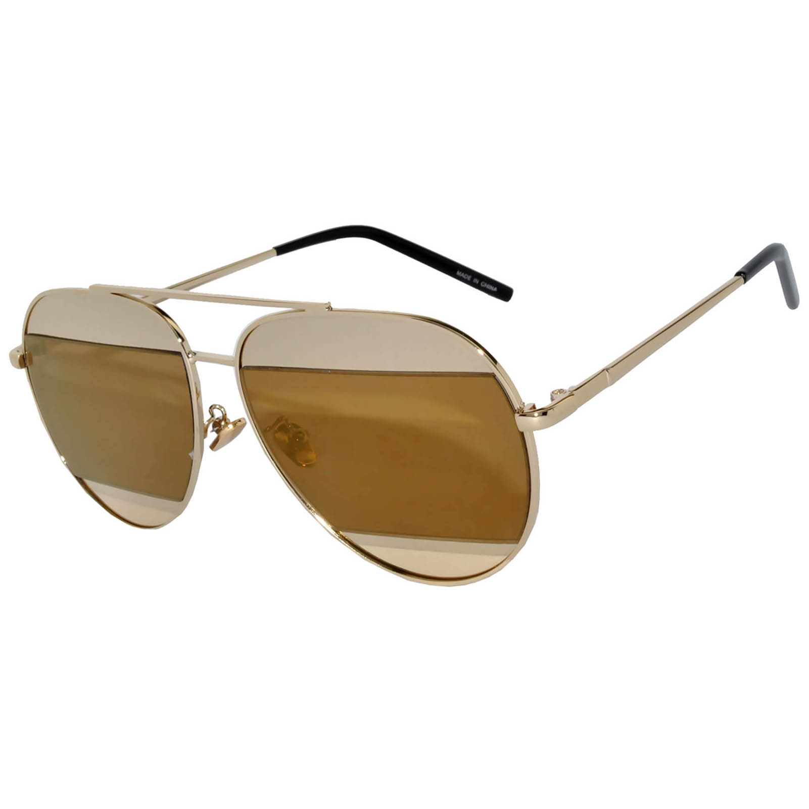 OWL ® Eyewear Sunglasses 86004 C6 Women's Metal Aviator Gold Frame Brown Mirror Lens One Pair