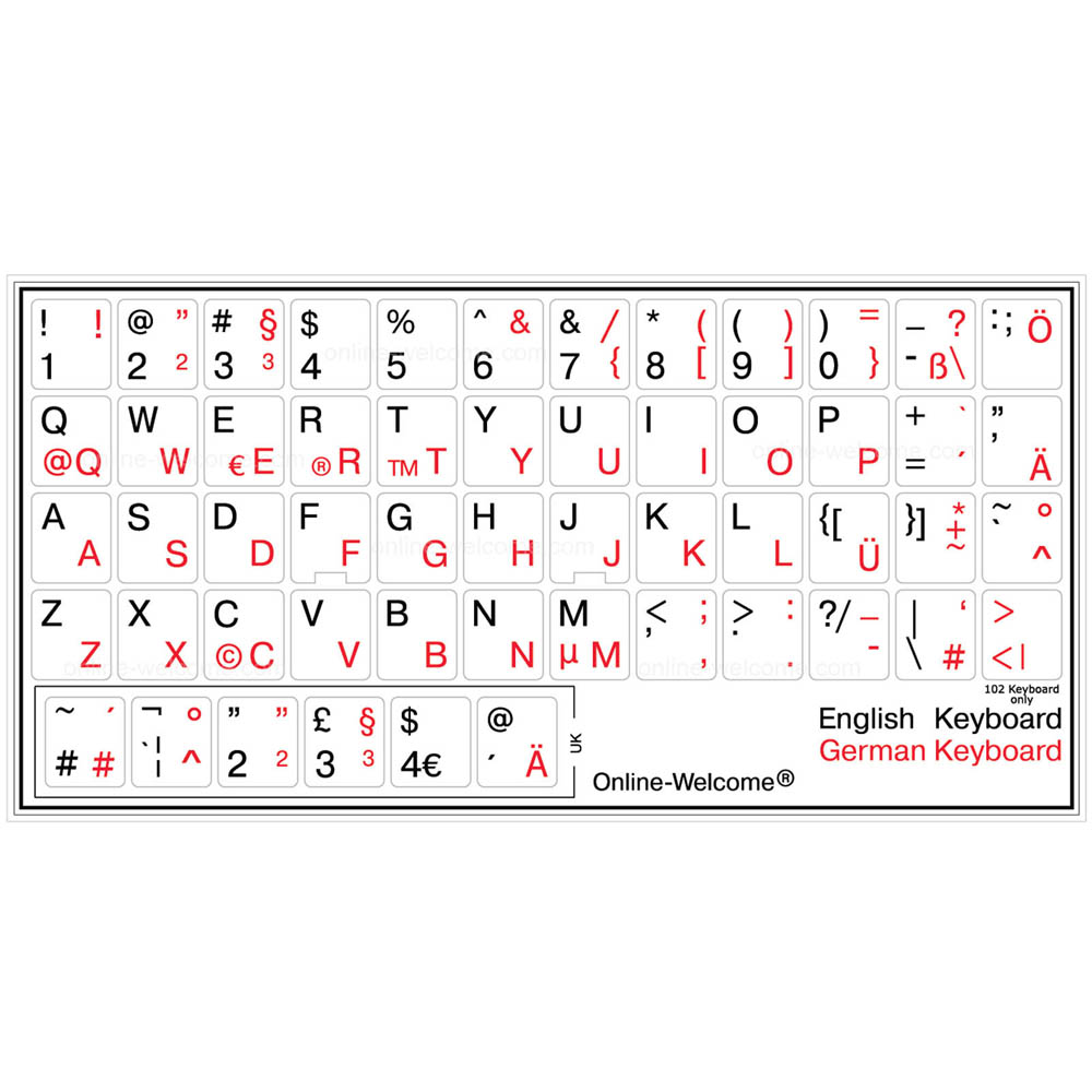 GERMAN-RUSSIAN-ENGLISH KEYBOARD STICKER NON TRANSPARENT WHITE NEW ONLINE-WELCOME