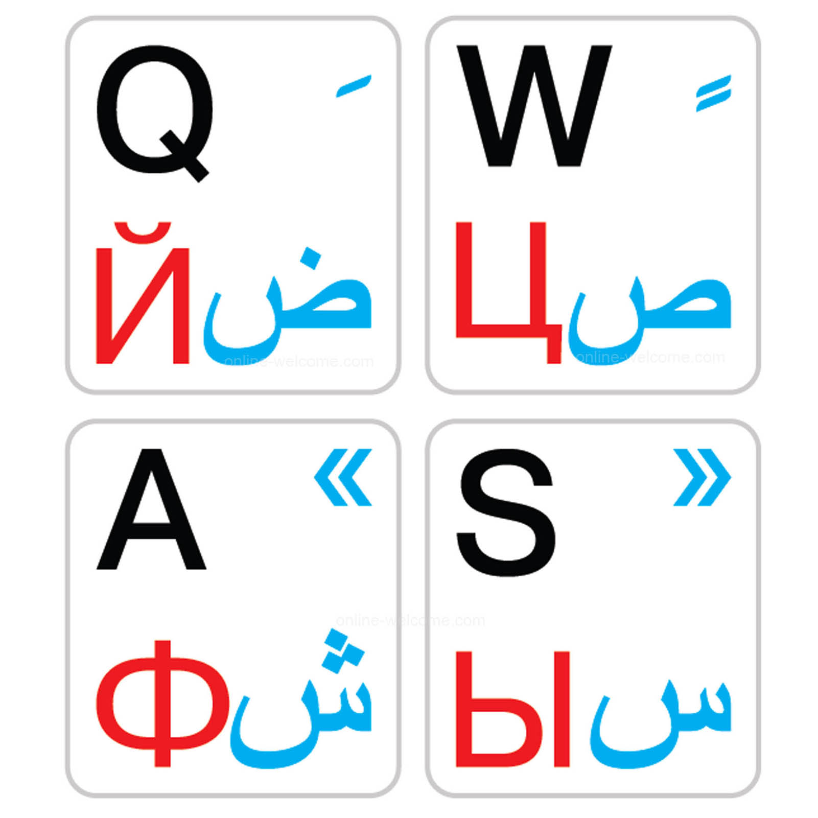 Arabic-Russian-English keyboard stickers white