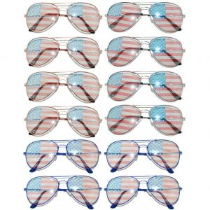OWL ® Eyewear Wholesale Aviator Sunglasses American Flag Mix Frame (12 PCS