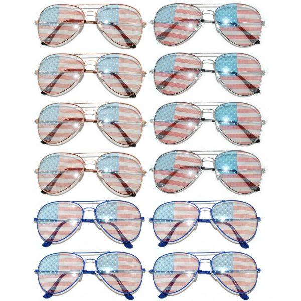 OWL ® Eyewear Wholesale Aviator Sunglasses American Flag Mix Frame (12 PCS