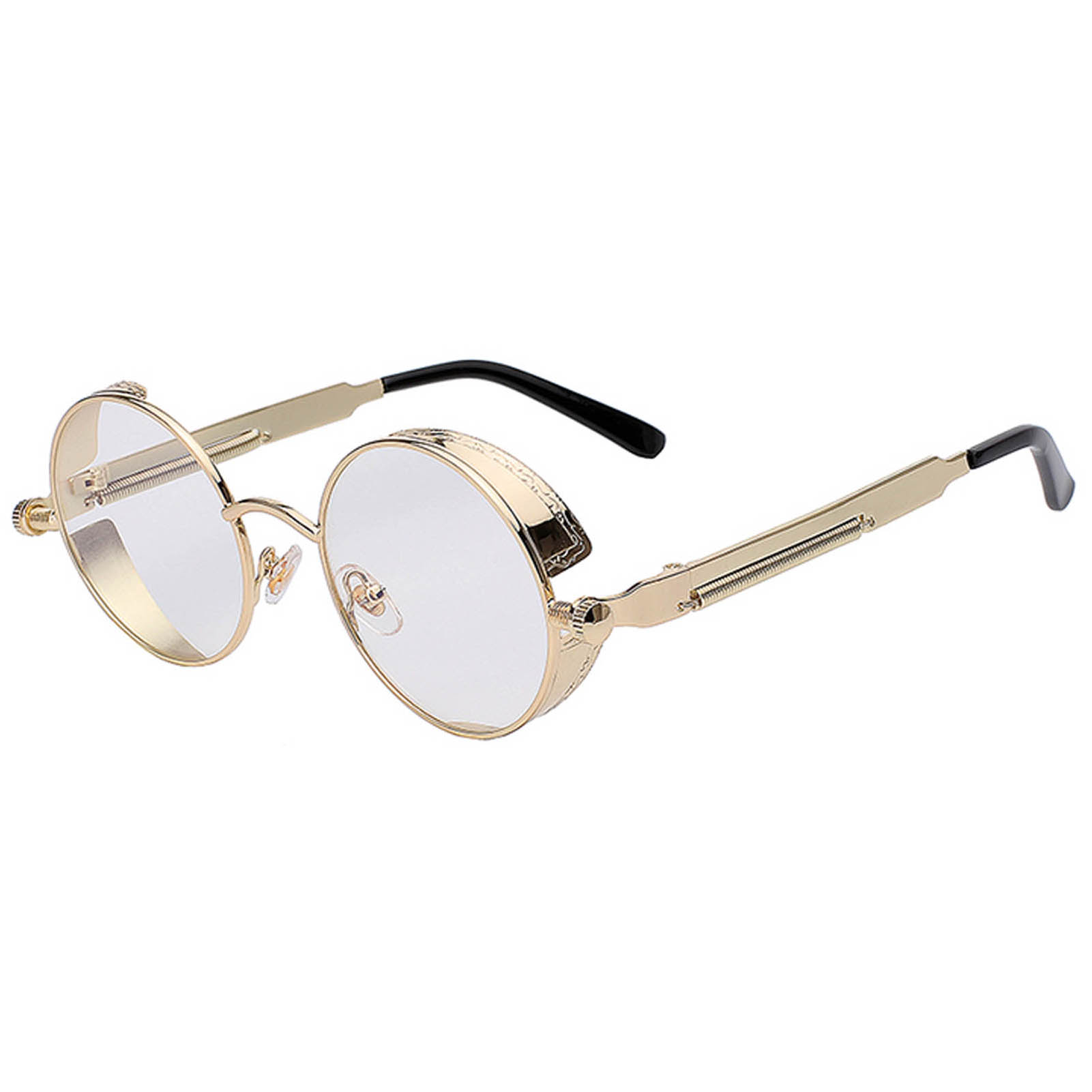 OWL ® Steampunk C8 Gothic Eyewear Sunglasses Women's Men's Metal Round Circle Gold Frame Clear Lens One Pair